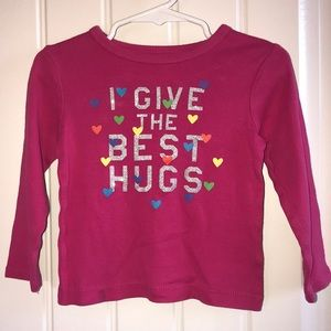 Pink Carter's Hugs Shirt with Hearts